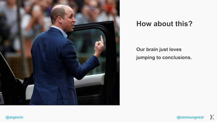 Prince William, middle finger to the crowd