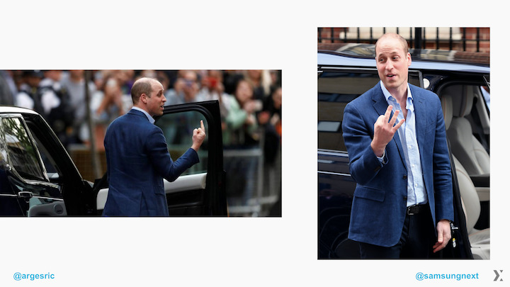 Two images of Prince William from different angles